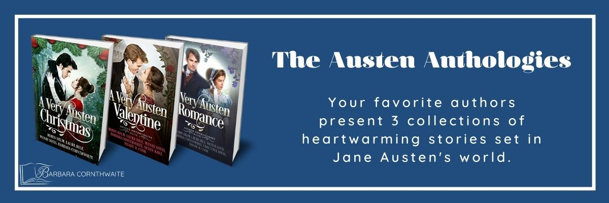 Barbara Cornthwaite and more of your favorite authors present 3 collections of heartwarming stories set in Jane Austen's world. barbaracornthwaite.com.